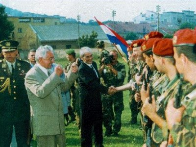 Croatia is liberated from Serb occupation August 1995, dr Franjo Tudjman congratulates the forces