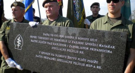 """On 2nd May 1991 in Borovo Selo Serbian terrorists slyly and cruelly from ambush committed a massacre and war crime against wounded and captured members of the Special Police Forces of the Republic of Croatia"""