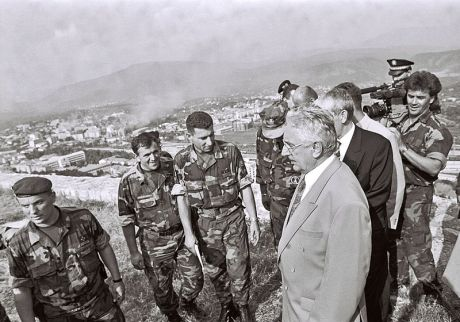 Croatian Operation Storm 5 August 1995 Photo: MORH Ministry of defence Repubplic of Croatia (centre left: General Ante Gotovina, centre right: President Franjo Tudjman - standing above liberated town of Knin)
