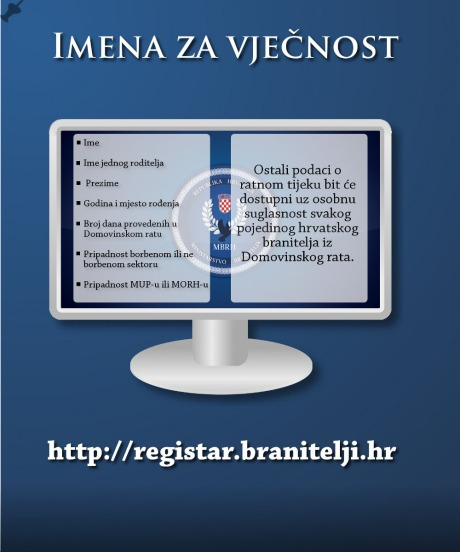 "Croatian Veterans' Resister - ""Names for Eternity"""