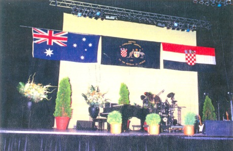 28 February 1993 - stage for celebrations Sydney Entertainment Centre