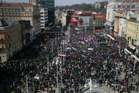 "Crowds gathering for ""No Cyrillic in Vukovar"" RallyZagreb, 7 April 2013, Ban Jelacic Sq., Photo: Grgur Zvcko/Pixsell"
