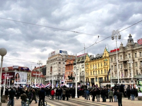 "April 7, Ban Jelacic Sq., Zagreb - crowds gathering for""No Cyrillic in Vukovar"" Rally  Photo: Sacha Stephanie Vukic"