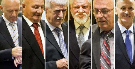 From left: Jadranko Prlic, Milivoj Petkovic, Bruno Stojic, Slobodan Praljak, Berislav Pusic, Valentin Coric Photo: AFP/ jutarnji.hr