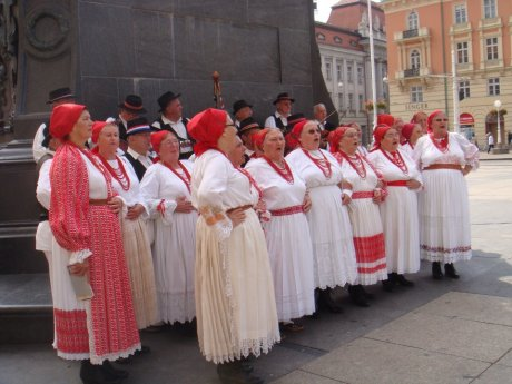Folk singers on Ban Jelacic Place Zagreb Croatia