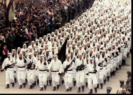 Muslim Army of Bosnia and Herzegovina displays its mujahedin strength, Zenica 1994  (Photo first published in The London Times, 1994)