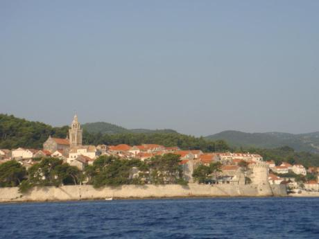 Cruising on a boat around old town of Korcula Croatia