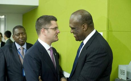 Newly-elected President of the General Assembly Amb. John Ashe  of Antigua and Barbuda (right) is congratulated by current President  Vuk Jeremic. UN Photo/Evan Schneider