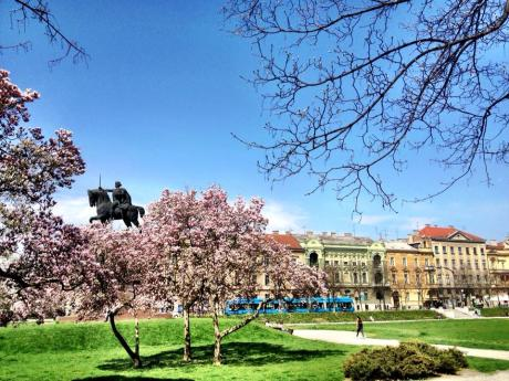 May 2013 - King Tomislav statue Zagreb Croatia the glory of Spring and history