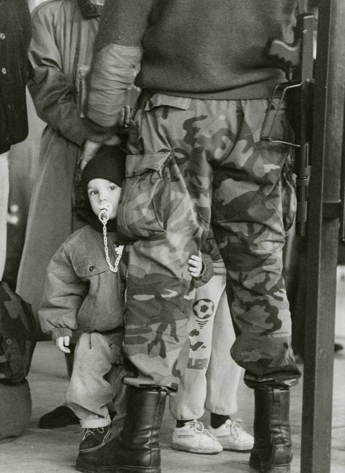 Croatia Zagreb Dec 1991 - A Croat child farewells soldier father Photo: Jadran Mimica
