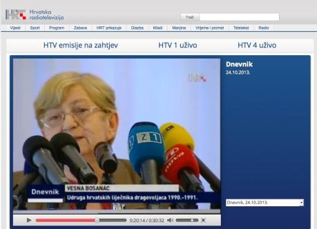 Dr. Vesna Bosanac, Association of Croatian doctors volunteers 1990 - 1991 Photo: Screenshot HRT TV News 24. 10. 2013