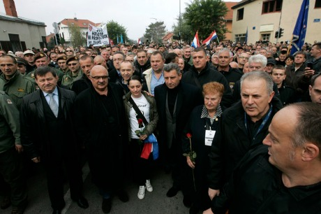 Vukovar 18 Nov 2013 Croatian Generals  Mladen Markac, Ivan Cermak and Ante Gotovina march with war veterans and victims Photo: Vlado Kos/Cropix