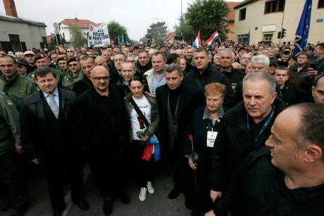 Vukovar 18 Nov 2013 Croatian Generals  Mladen Markac, Ivan Cermak and Ante Gotovina march with war veterans and victims Photo: Vlado Kos/Cropix