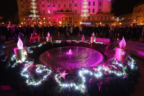 Advent in Zagreb, Croatia Caroling on Ban Jelacic Square