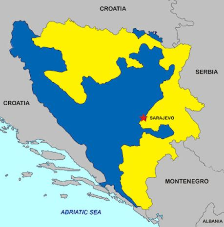 Bosnia and Herzegovina (BiH) Yellow represents Serbian Republic That part of BiH that was ethnically cleansed By Serbs