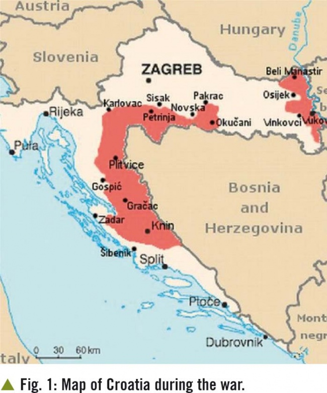 In red: Serb occupied and ethnically cleansed of non-Serbs areas of Croatia 1991