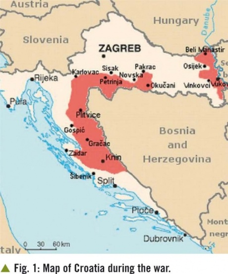 In red: Serb occupied and ethnically cleansed of non-Serbs areas of Croatia 1991 - 1995