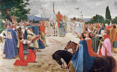 The crowning of Croatia's King Tomislav, 925  Painting by Oton Ivekovic Photo Credit: Wikimedia Commons