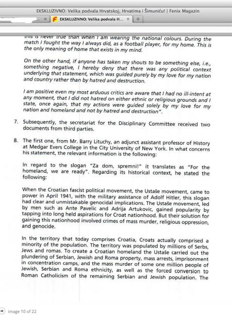 Excerpt of Barry M Lituchy statement to FIFA  Photo: Screen shot 6 February 2014 http://fenix-magazin.com