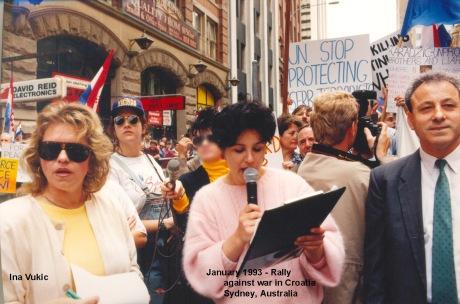 Croatian women rally against aggression  in Croatia - Sydney, Australia January 1993