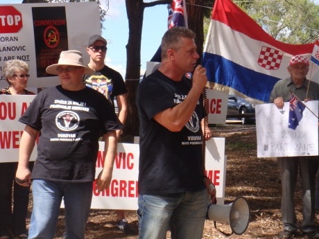Sydney 10th March 2014 Protest against Croatia's Prime Minister Zoran Milanovic
