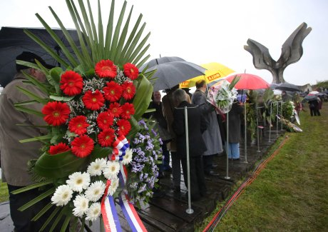Jasenovac, Croatia, May 2014  Wreaths and flowers to remember WWII victims  Photo: FaH