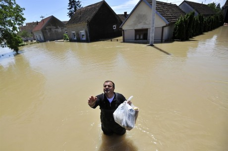 Flood at Gunja near Slavonski Brod Croatia