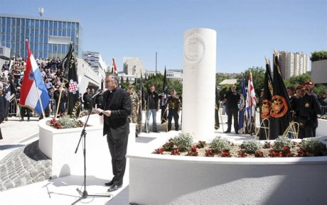 Monument to the HOS 9th Battalion Rafael Vitez Boban raised in Split, Croatia - 9 May 2014