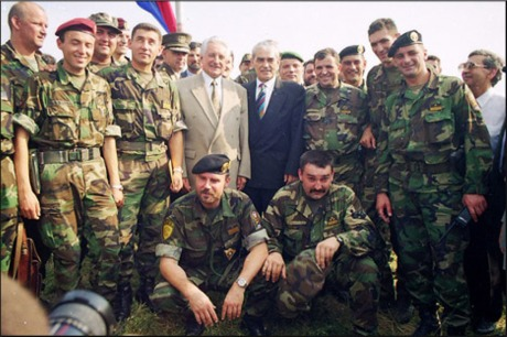 Franjo Tudjman with his Operation Storm team of Croatia's heroes  6 August 1995 in Knin