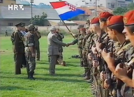 Operation Storm liberates town of Knin from Serb occupation and Croatia';s president Franjo Tudjman arrives the next day  6 August 1995 to personally shake the hands of the heroes
