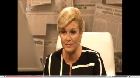 "Croatian presidential candidate Kolinda Grabar-Kitarovic on ""Sunday at 2"" TV program 21 September 2014 Photo: Screen shot"