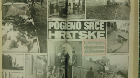 Croatian newspaper Vecernji List 8 October 1991 covers the bombing of the heart of Croatia: Zagreb