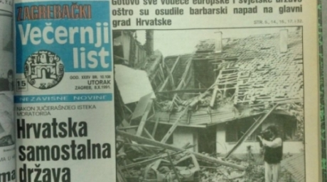Vecernji List 8 October 1991 Zagreb bombing by Yugoslav Army