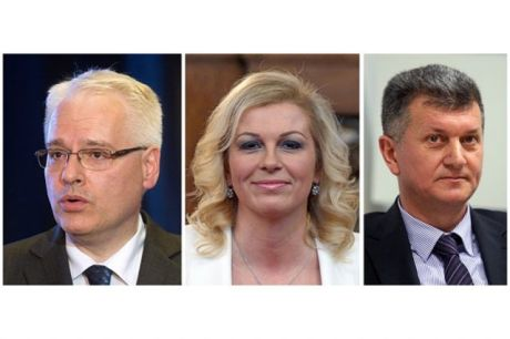 Left: Ivo Josipovic Centre: Kolinda Grabar-Kitarovic Right: Milan Kujundzic