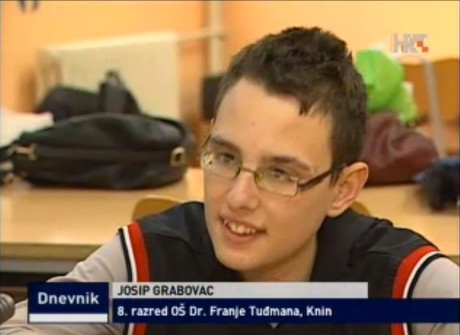 "Josip Grabovac 8th grader at Primary School ""Dr Franjo Tudjman"" in Knin pleads:  ""Please return my  teacher's aide  into my classroom"" Screenshot: hrt.hr news 4 November 2014"