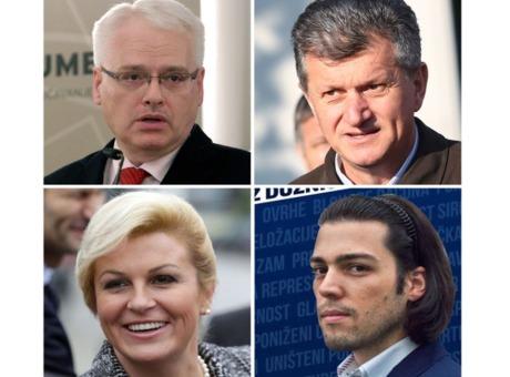 Croatian Presidential Elections 2014 Candidates Clockwise: Ivo Josipovic, Milan Kujundzic, Kolinda Grabar-KItarovic and Ivan Vilibor Sincic