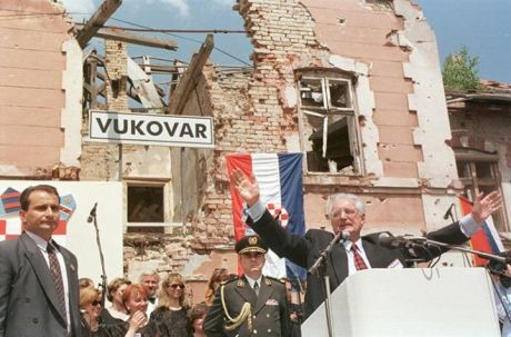 Franjo Tudjman visits Vukovar 8 June 1997 during the process of peaceful reintegration of the Serb-occupied Croatian Danube region into the Croatian constitutional and legal system