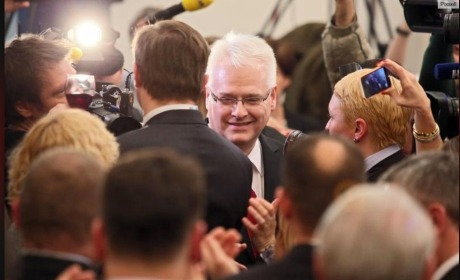 Ivo Josipovic at post-election gathering in Zagreb 28 Dec 2014 Photo: Screenshot 24sata.hr