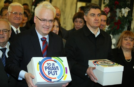 Ivo Josipovic (Left) with Zoran Milanovic (right/Prime Minister) Photo: Jurica Galoic/Pixsell