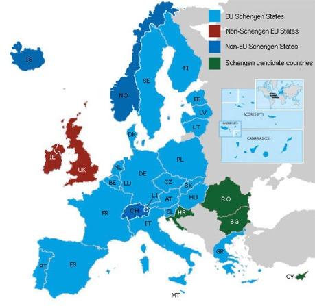Map of Schengen Area 2013 (Click image to enlarge) Photo credit: ec.europa.eu