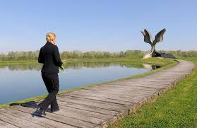Croatian President Kolinda Grabar-Kitarovic At Jasenovac memorial centre 22 April 2015 - 70 Anniversary of liberation of this WWII camp where thousands lost their innocent lives