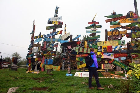 Signposts left by visitors at Kuterevo Bear Rescue