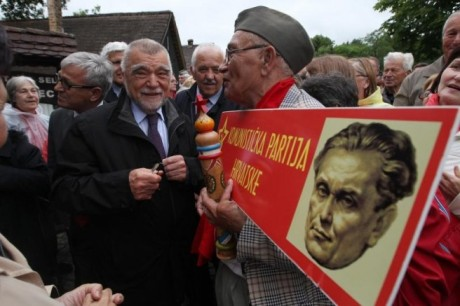 "Stjepan Mesic at Kumrovec celebrating Tito's birthday calling all those who speak the truth about communist crimes ""nazifascists"" and revisioninsts Photo: Boris Scitar/Pixsell"
