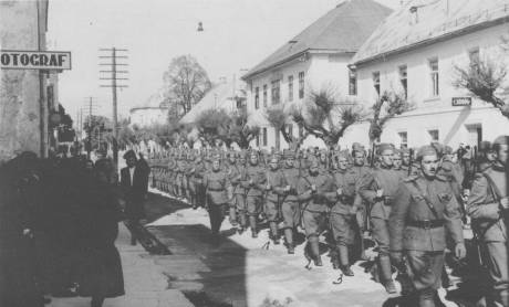Croatian Regular Army Formed 1941 as Kingdom Of Yugoslavia Folded Home Guards/Domobrani march in Gospic 1941