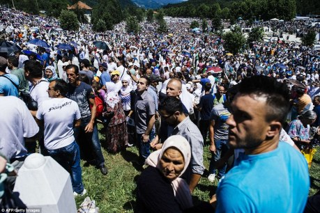 Most unhappy crowds at Srebrenica Saturday 11 July 2015 at seeing Serbia's Prime Minister Aleksanadar Vucic there