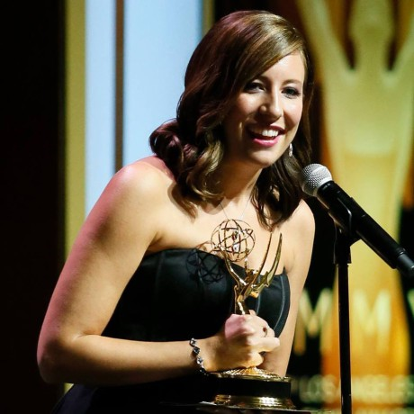 "Brenda Brkusic Milinkovic Accepting her Emmy for ""Mia, a dancer's journey"" Photo: Associated Press/AP"