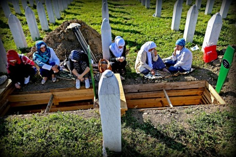 Women of Srebrenica  mourn at grave site where recently identified remains are to be buried - 11 July 2015 Photo: The Atlantic