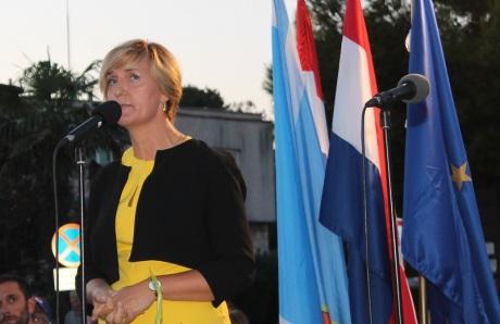 Branka Juricev Martincev Mayor of Vodice Speaks at the unveiling of Monument to Victims of Communist Yugoslavia Photo: TRIS/ H.Pavic