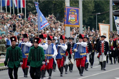 Croatian military parade 20th Anniversary of Operation Storm historical detachments marched also Photo: Screenshot HRT news