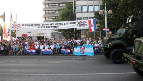 "Croatian war wounded  veterans observe the military parade and say about the participants: ""they are our pride"" Zagreb 4th August 2015"